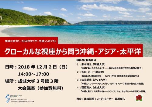 成城大学グローカル研究センター主催シンポジウム「グローカルな視座から問う沖縄・アジア・太平洋」